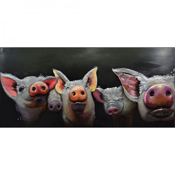 Picture of Metal Pigs Wall Decor