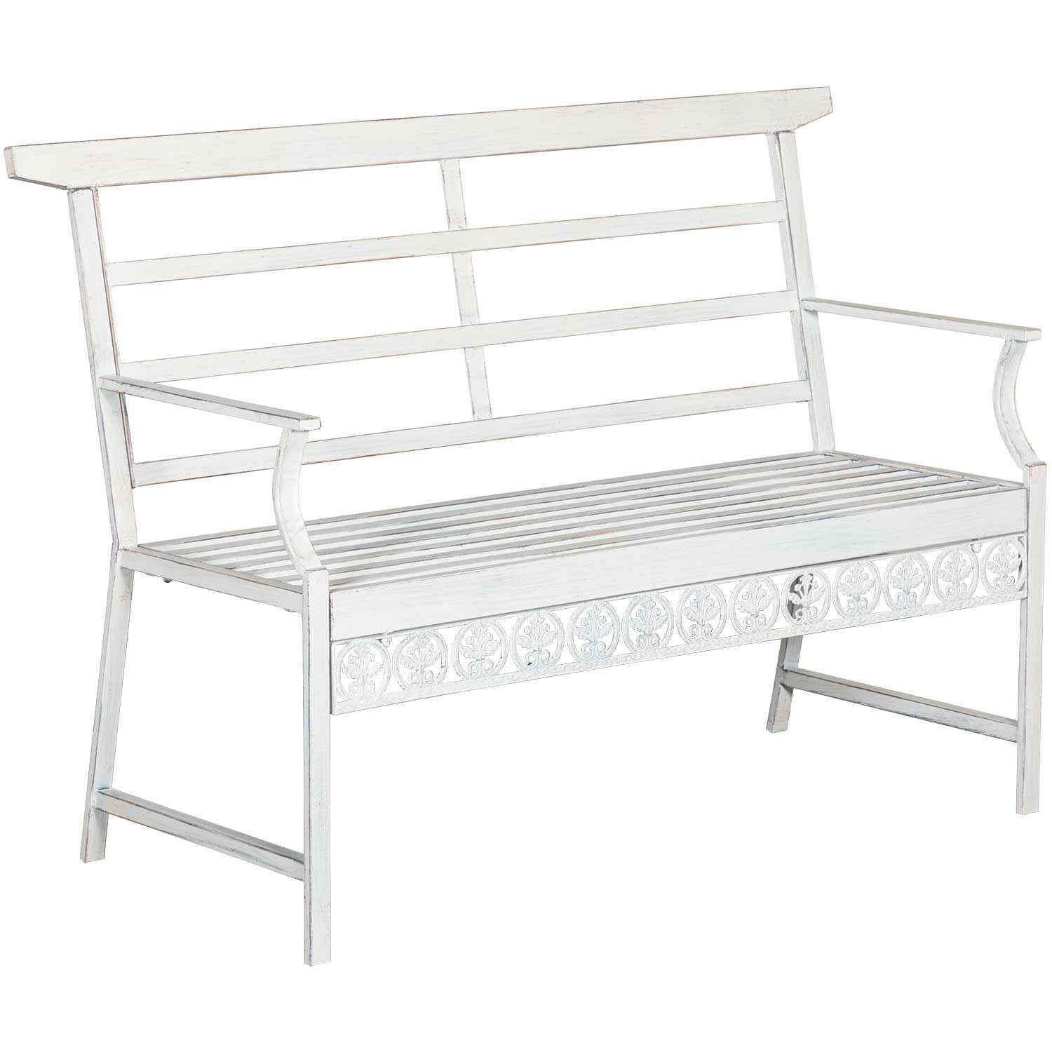 Magnificent White Metal Sitting Bench Beatyapartments Chair Design Images Beatyapartmentscom