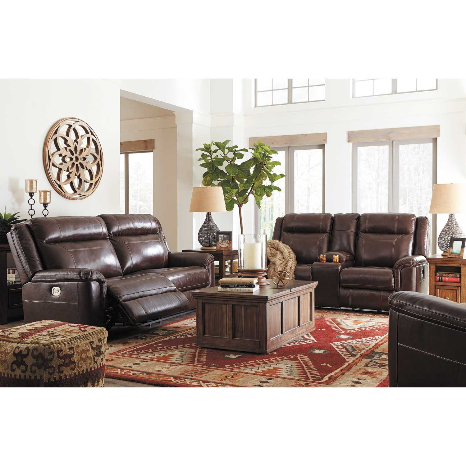 Ashley Furniture Manufacturing: Wyline Leather Power Reclining Sofa With Adjustable