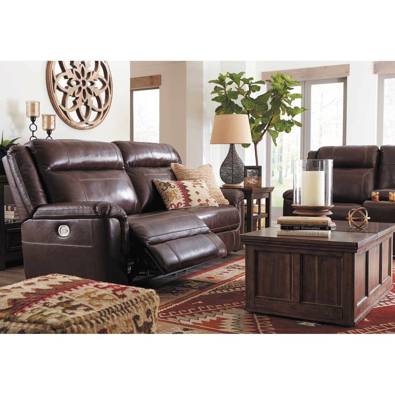 Wyline Leather Power Reclining Console Loveseat With Power