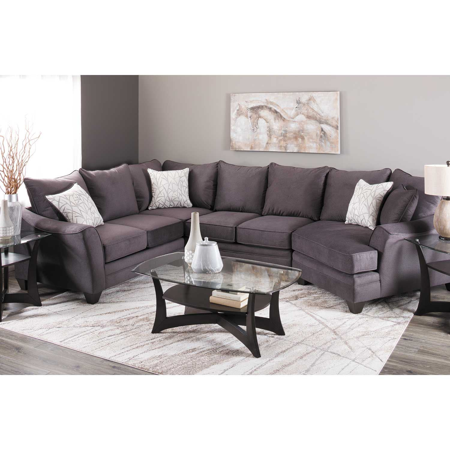 Picture of Flannel Seal 3 Piece Sectional with LAF Cuddler