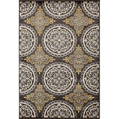 Picture of Pena Charcoal & Yellow Rug Large