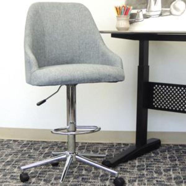 Picture of Boss Medium Grey Linen Stool* D