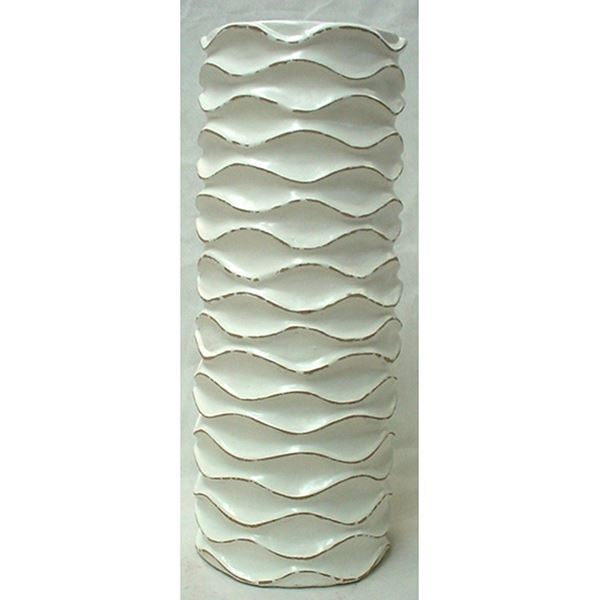 Picture of White Ruffled Cylinder Vase