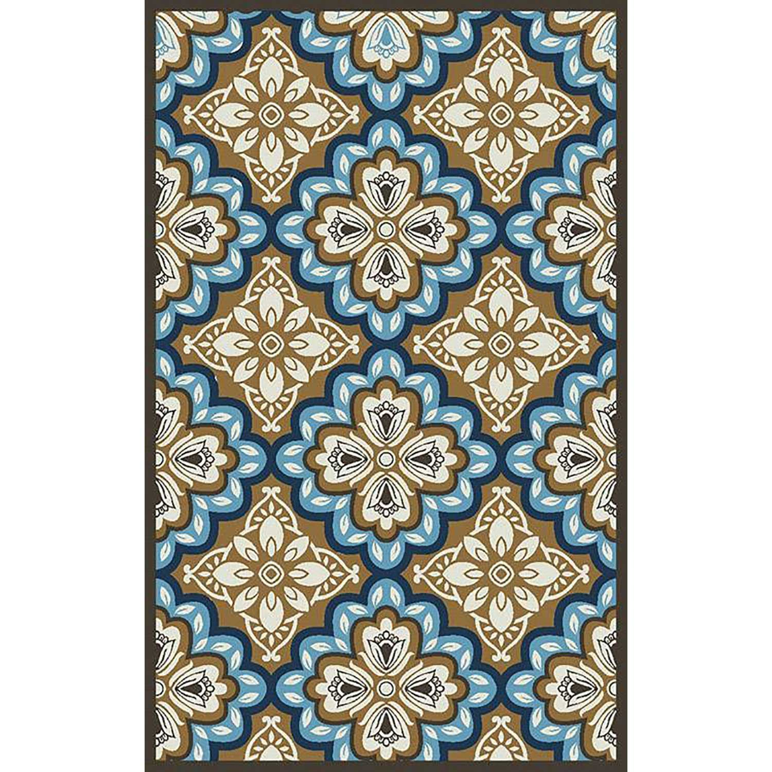 Freya Latte Blue Medallion 8x10 Outdoor Rug 6005 54 67 Central