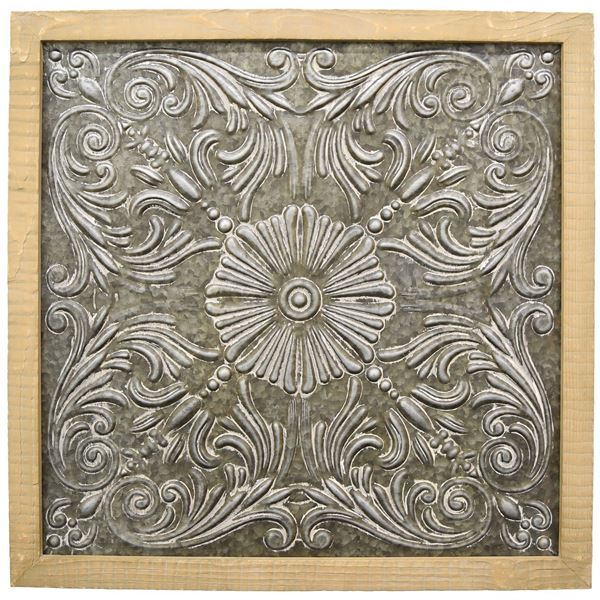 Picture of Wood Framed Metal Wall Decor