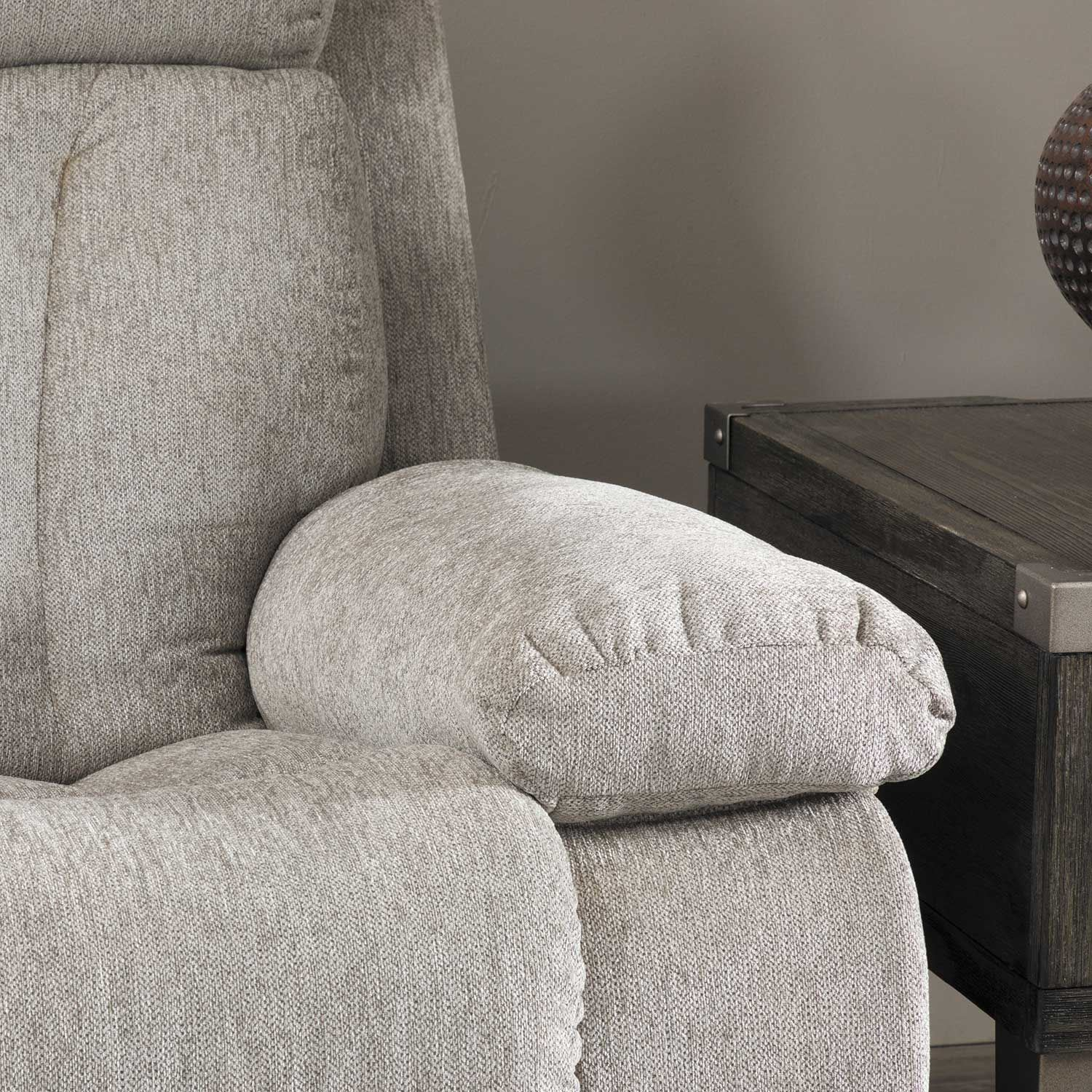Picture of Mitchiner Grey Reclining Sofa with Drop Down Table