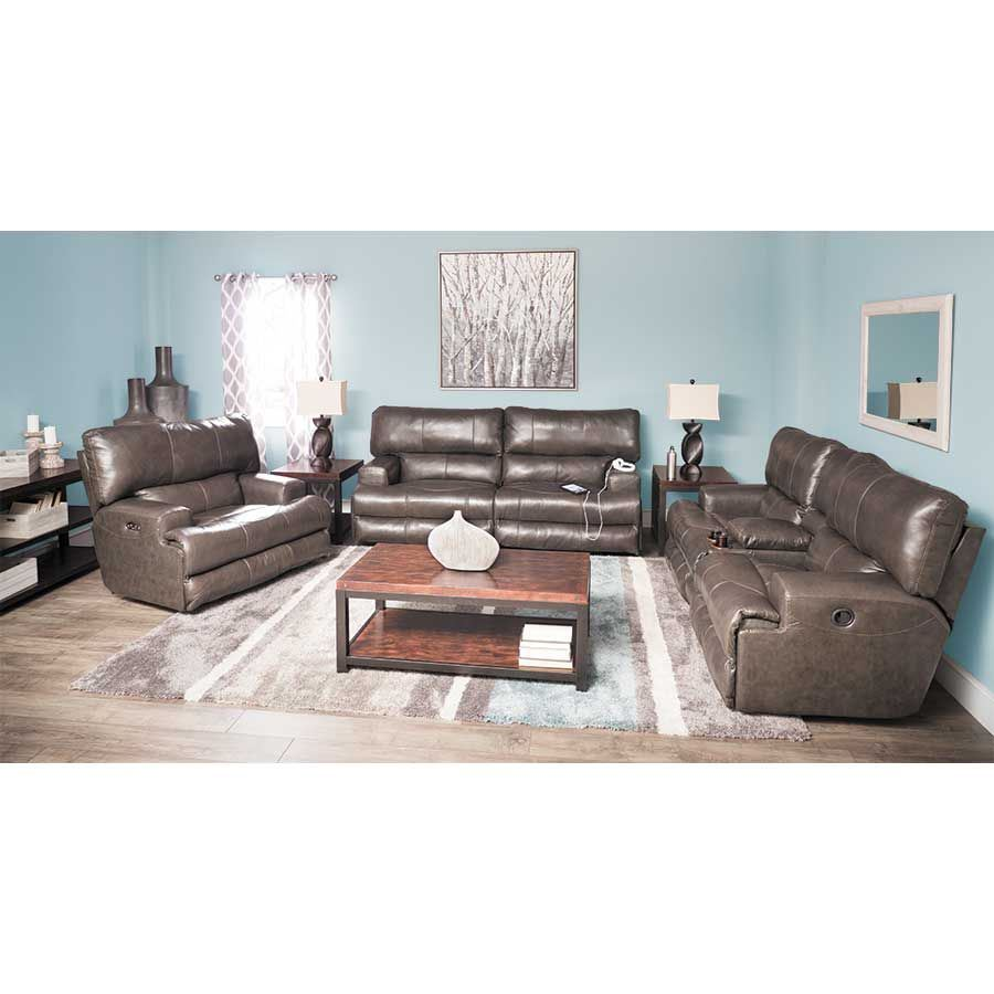 Picture of Wembley Steel Italian Leather Reclining Loveseat