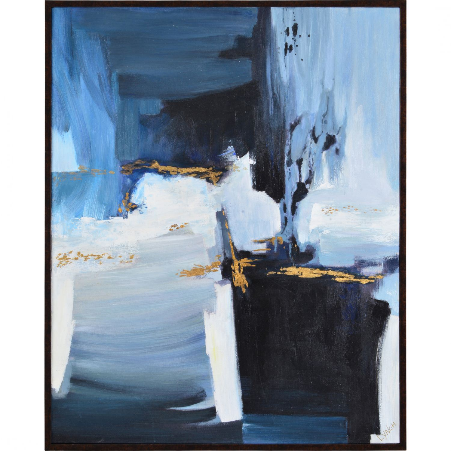 Framed Blue And Gold Abstract 121 1677b Canvas Art Afw Com