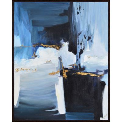 Picture of Framed Blue and Gold Abstract