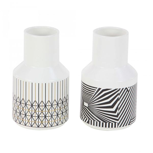 Picture of Set of Two Assorted Graphic Vases