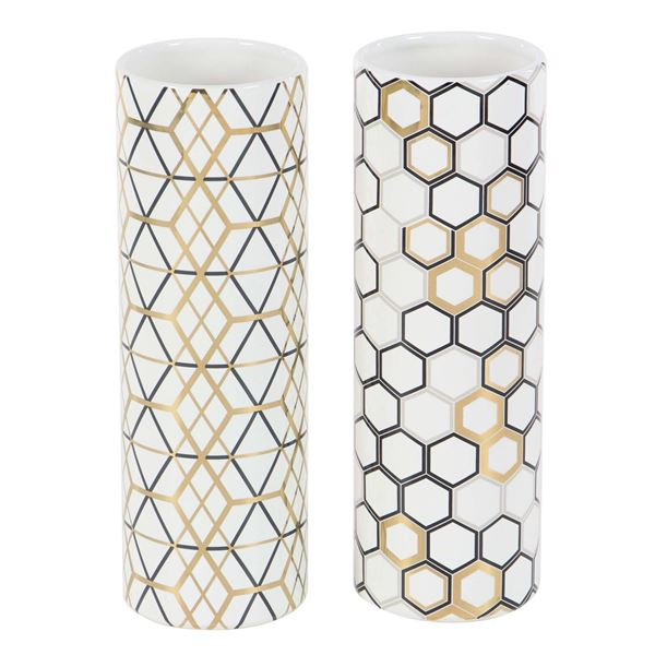 Picture of Set of Two Assorted Gold and White Vases