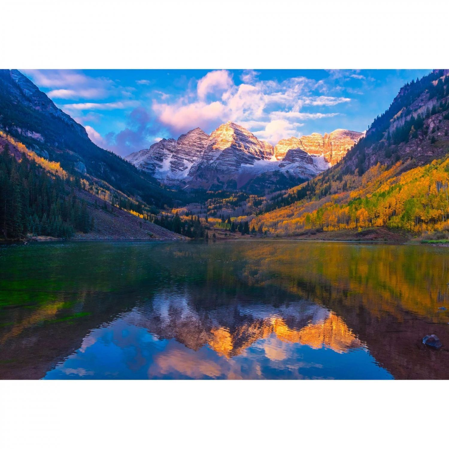 Art print POSTER CANVAS Maroon Bells Wilderness in Autumn