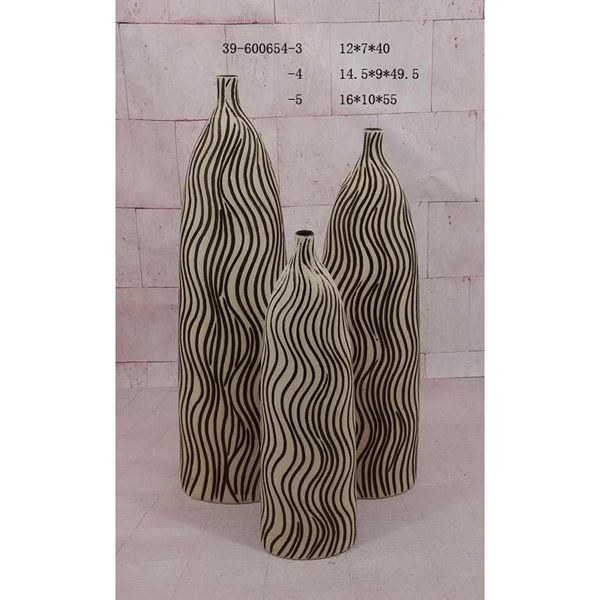 Picture of Ivory Espresso Stripe Vase