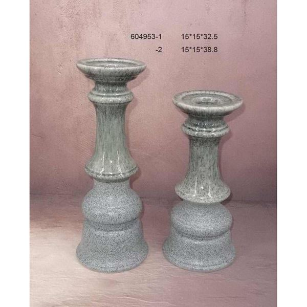 Picture of Two Tone Grey Teal Candle Holder