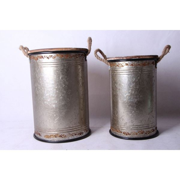 Picture of Set of 2 Tall Storage Bins Grey