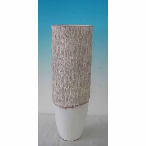 Picture of Tall Wood Look White and Natural Vase