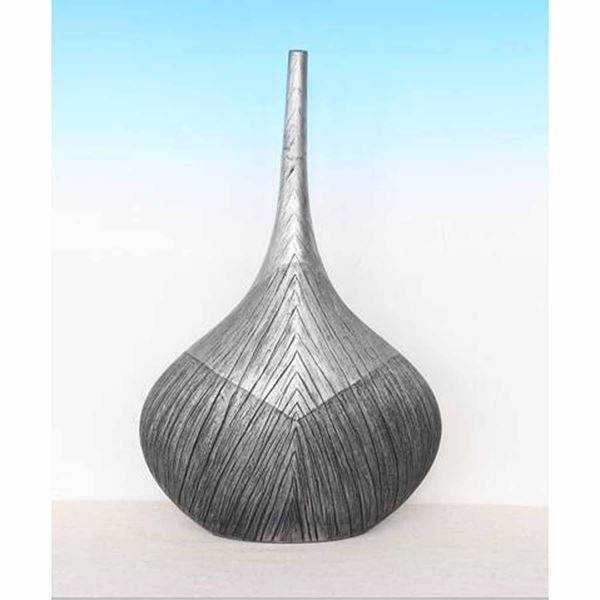 Picture of Large Grey Etched Thin Neck Vase