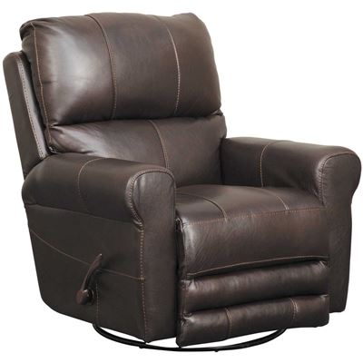 Picture of Hoffner Chocolate Italian Leather Rocker Recliner