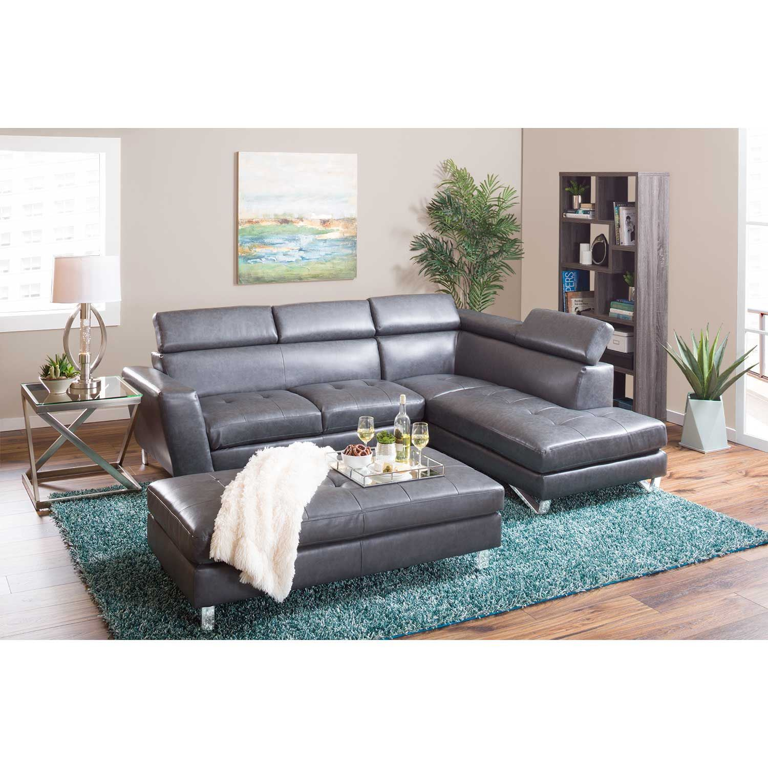 Picture of gray bonded leather ottoman