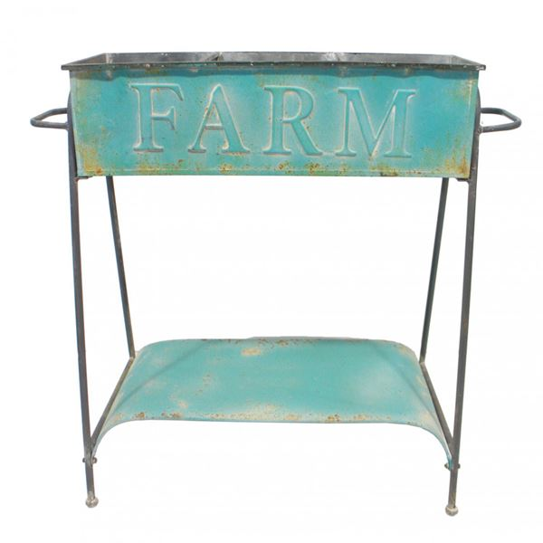 Picture of Blue Metal Tub On Stand