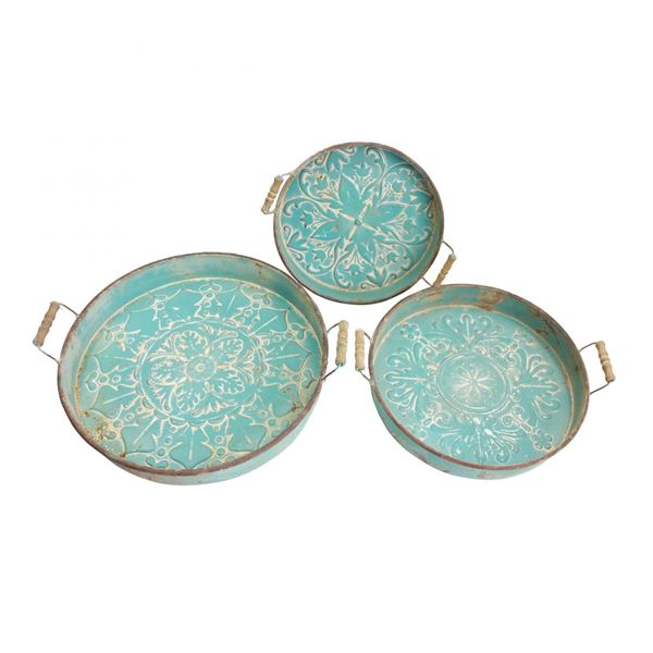 Picture of Set of 3 Blue Trays