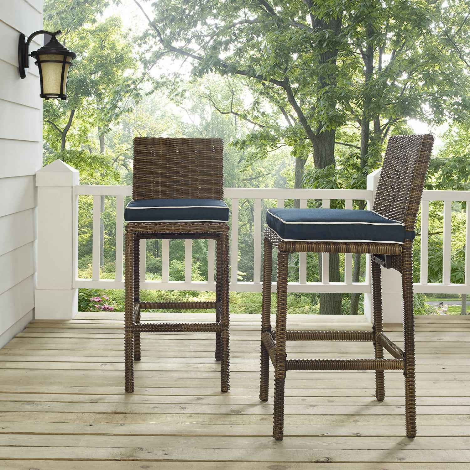 Picture of BRADENTON OUTDOOR WICKER BAR HEIGHT STOOLS W/NAVY CUSHION
