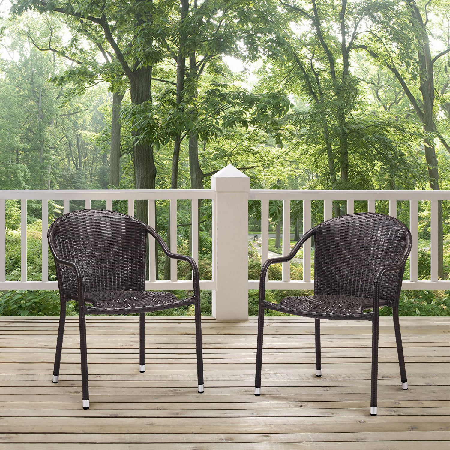 Picture Of Palm Harbor Outdoor Wicker Stackable Chairs Set