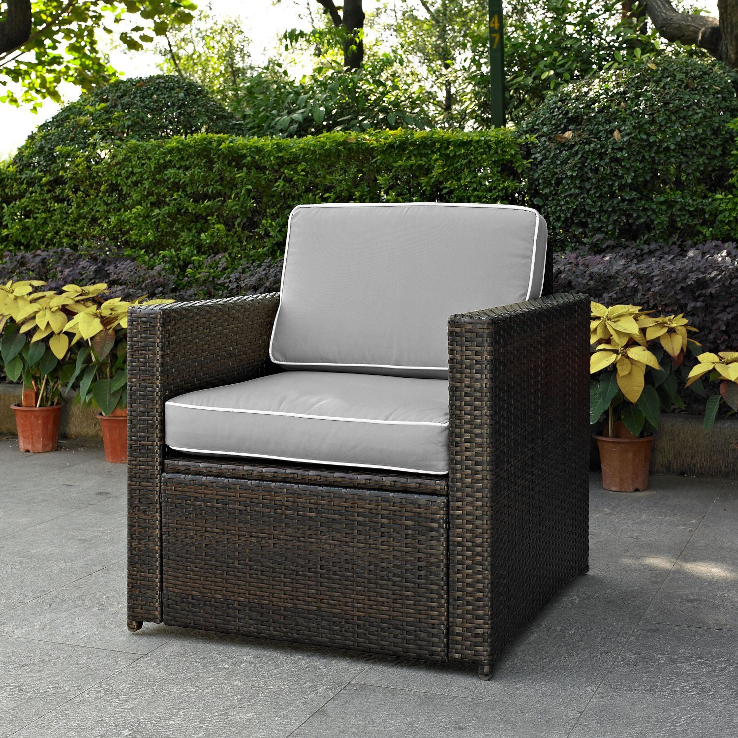 palm harbor outdoor wicker arm chair in brown with