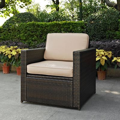 Picture of PALM HARBOR OUTDOOR WICKER ARM CHAIR IN BROWN WITH