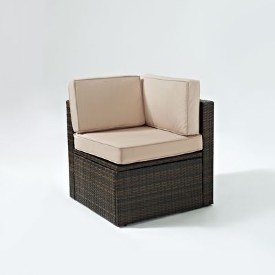 Picture of PALM HARBOR OUTDOOR WICKER CORNER CHAIR IN BROWN W