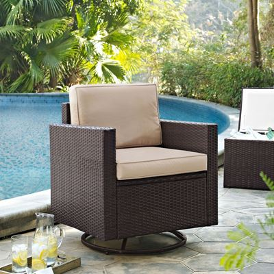 Picture of PALM HARBOR OUTDOOR WICKER SWIVEL ROCKER CHAIR WIT