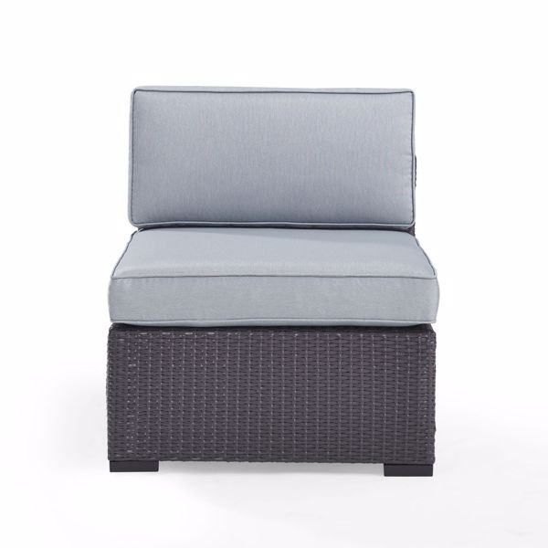 Picture of BISCAYNE ARMLESS CHAIR W/BLUE CUSHIONS