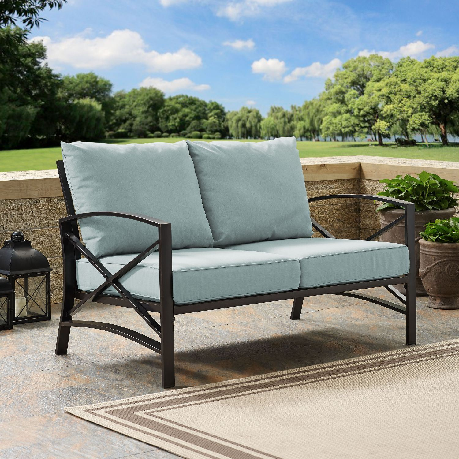 Kaplan Loveseat In Oiled Bronze With Mist Universa Ko60008bz Mi