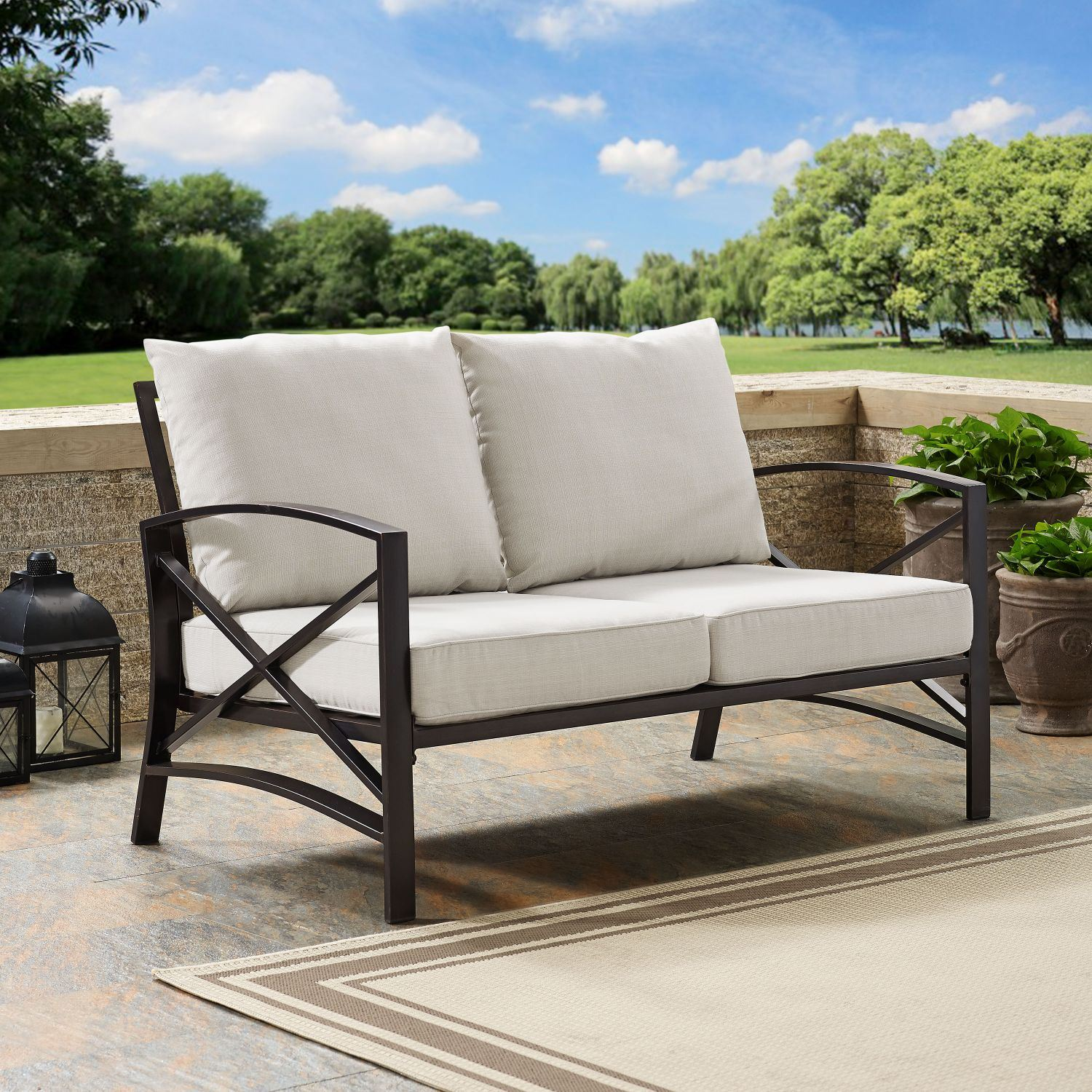 Picture of KAPLAN LOVESEAT IN OILED BRONZE WITH OATMEAL UNIVE