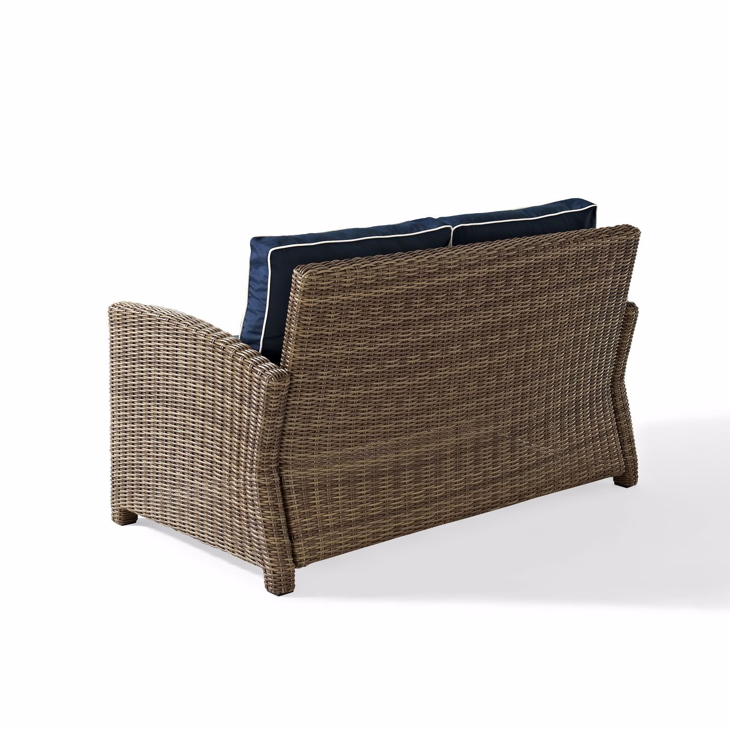 Picture of BRADENTON OUTDOOR WICKER LOVESEAT WITH NAVY CUSHIO