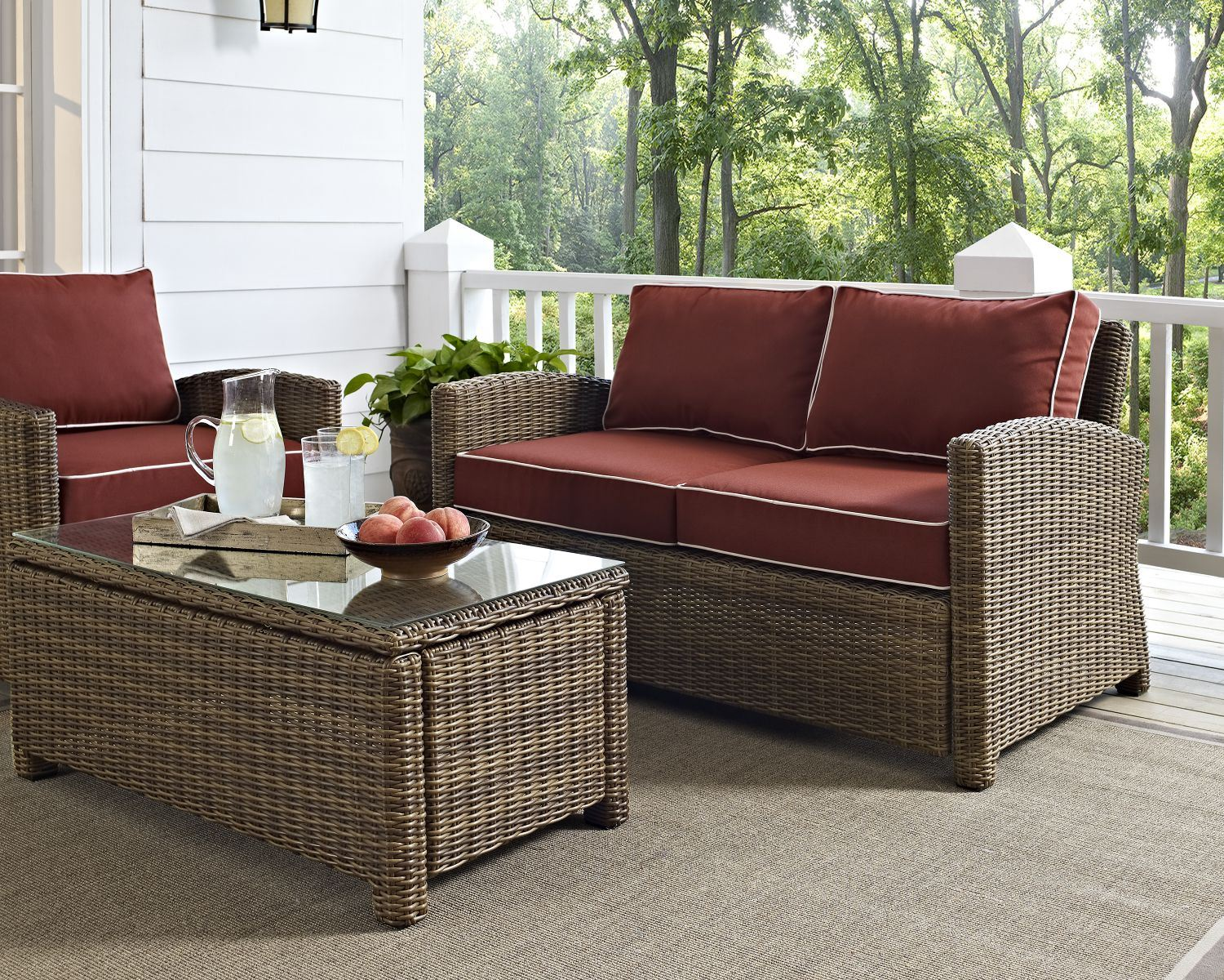 Picture of BRADENTON OUTDOOR WICKER LOVESEAT WITH SANGRIA CUS