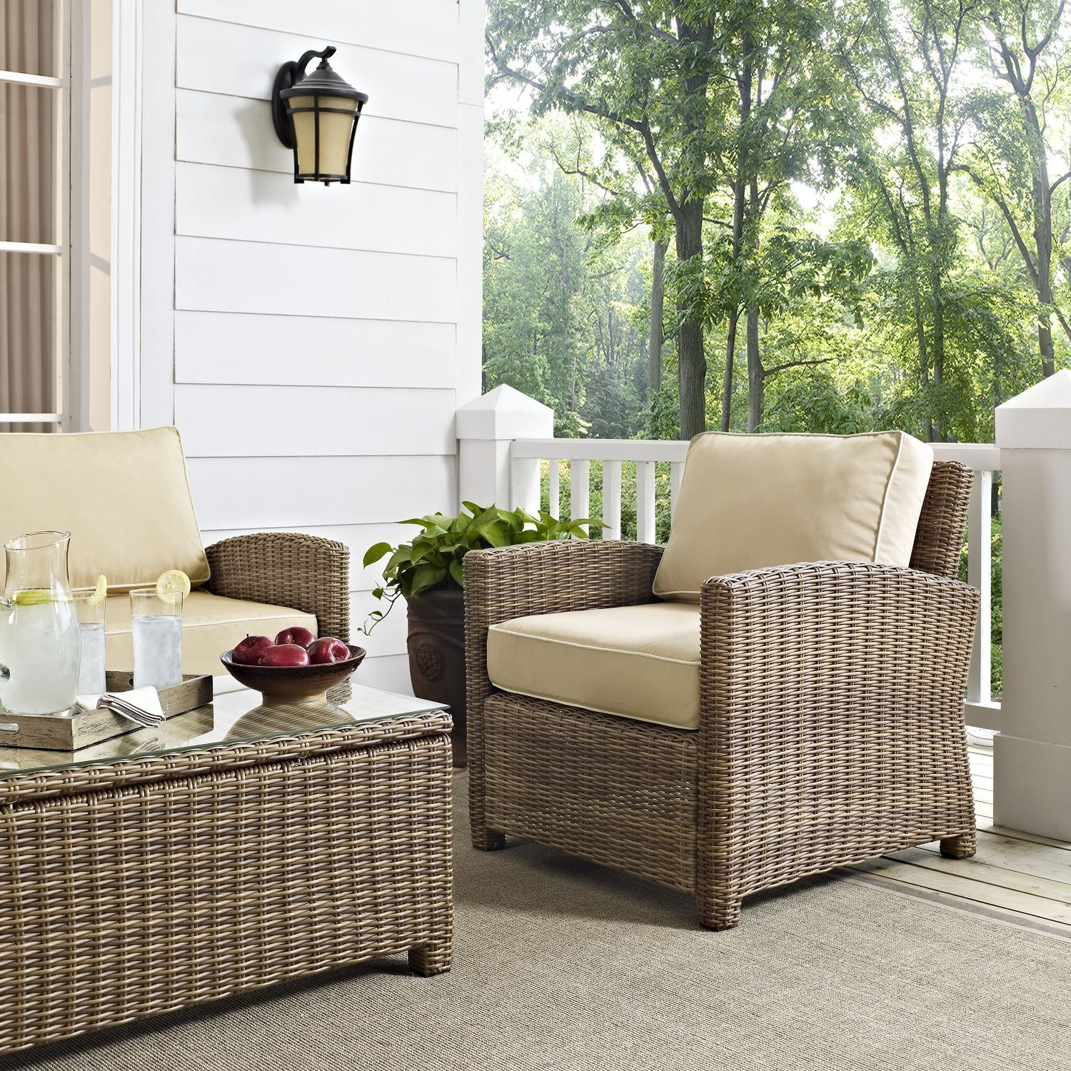 Picture of BRADENTON OUTDOOR WICKER ARM CHAIR WITH SAND CUSHI
