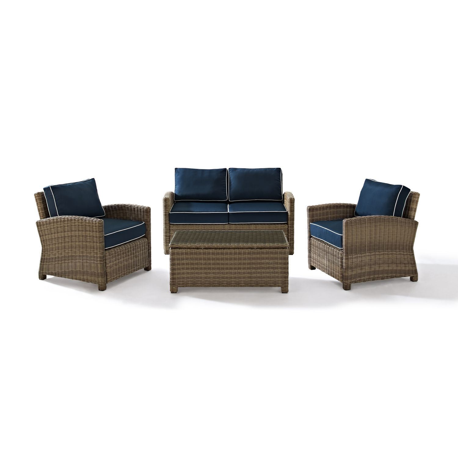 Picture of BRADENTON 4 PIECE OUTDOOR WICKER SEATING SET/Navy Cushions