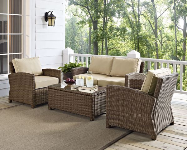 Picture of BRADENTON 4 PIECE OUTDOOR WICKER SEATING SET/Sand Cushions