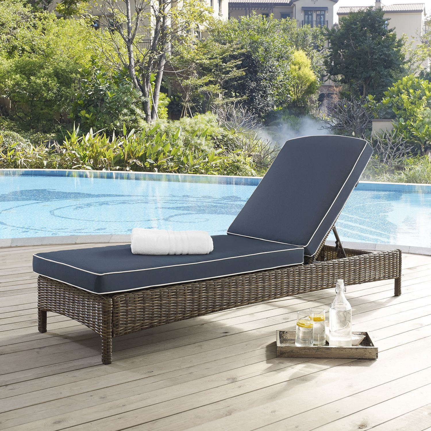 Picture of BRADENTON CHAISE LOUNGE WITH NAVY CUSHIONS