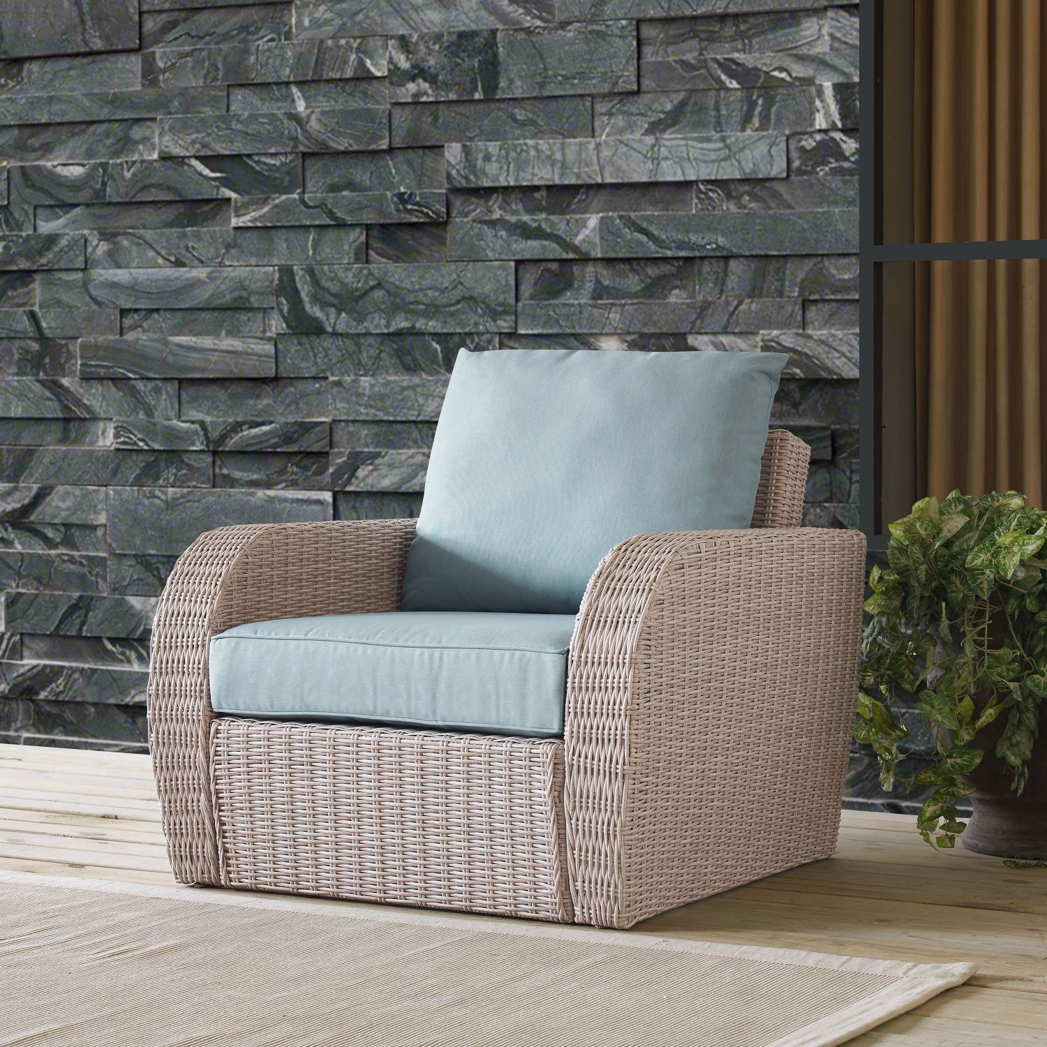 Picture of ST AUGUSTINE OUTDOOR WICKER ARM CHAIR IN WEATHERED