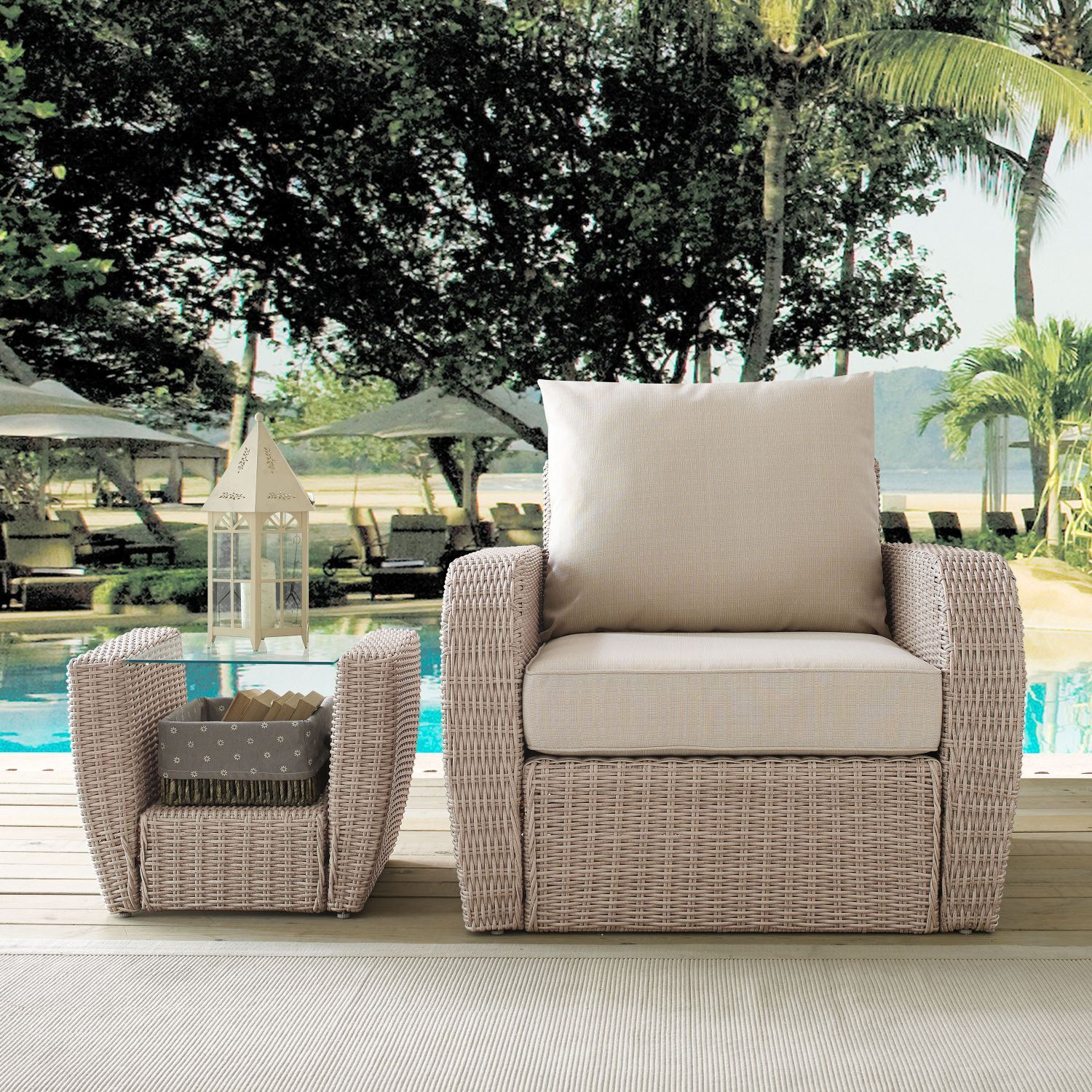 ST AUGUSTINE OUTDOOR WICKER ARM CHAIR IN WEATHERED ...