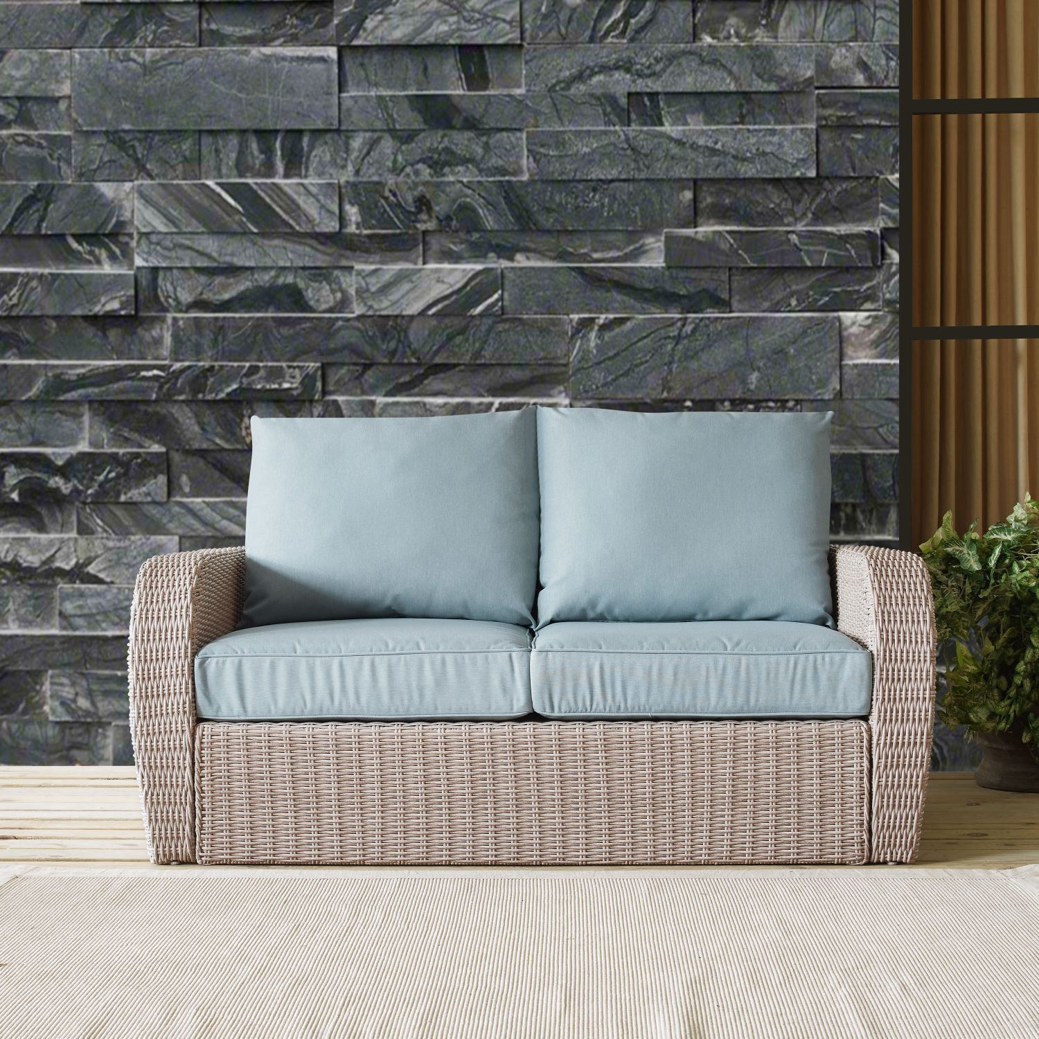 Picture of ST AUGUSTINE OUTDOOR WICKER LOVESEAT IN WEATHERED