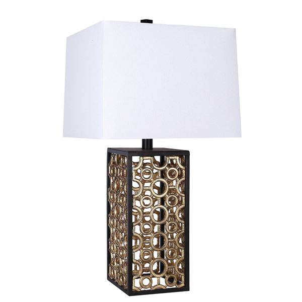 Picture of Gold and Black Cube Lamp