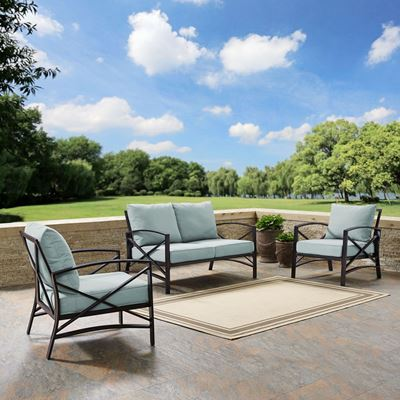 Picture of KAPLAN 3 PC OUTDOOR SEATING SET WITH MIST CUSHION