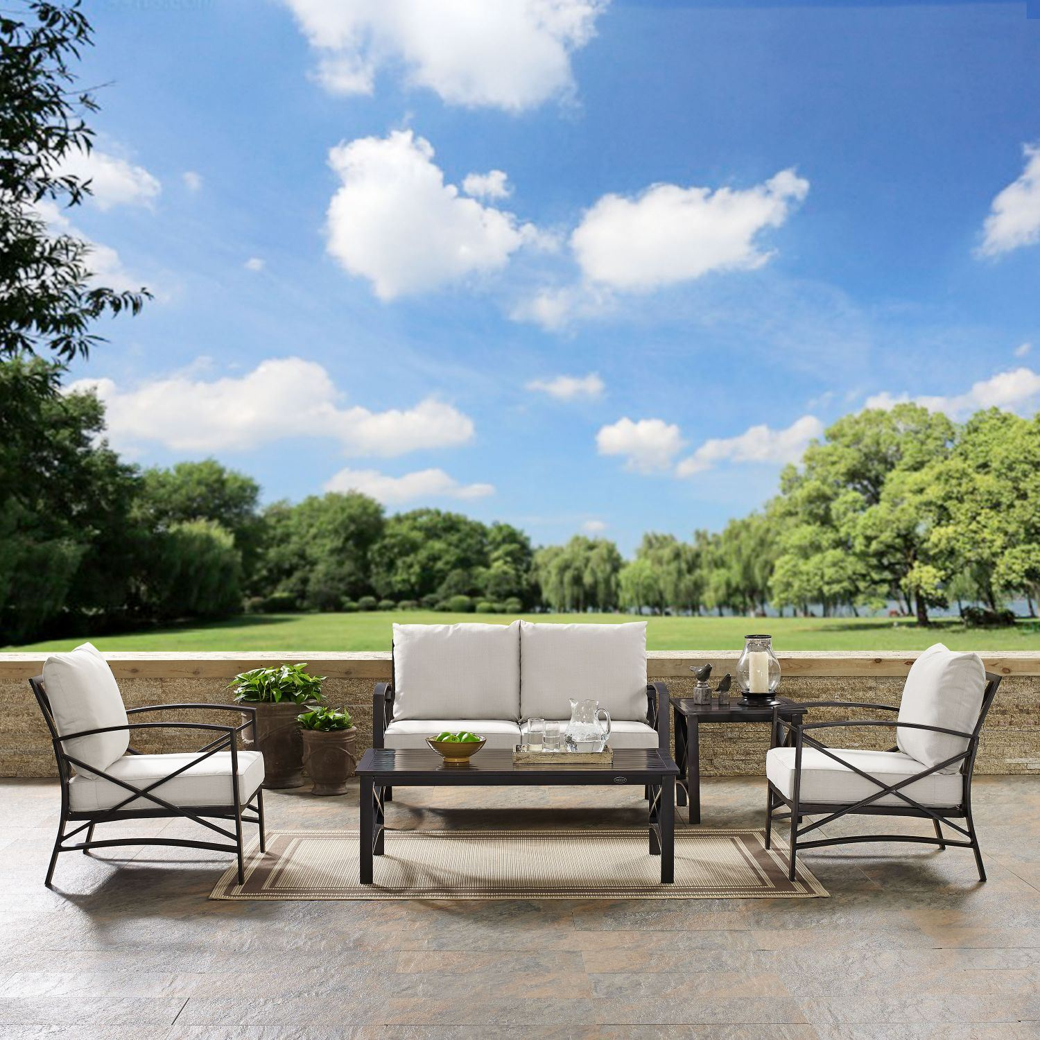 Picture of KAPLAN 5 PC OUTDOOR SEATING SET WITH OATMEAL CUSHI