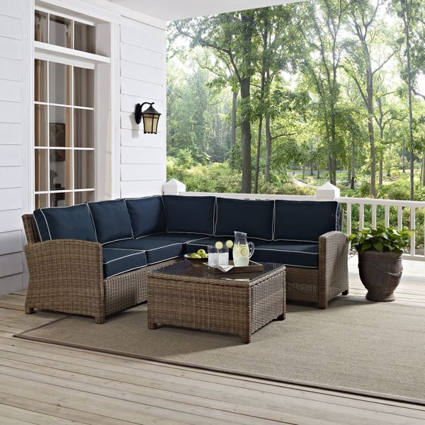 Picture of BRADENTON 4-PIECE OUTDOOR WICKER SEATING SET W/NAVY CUSHIONS