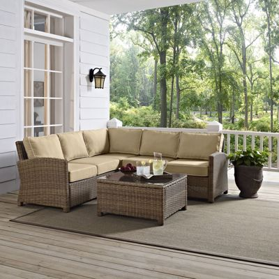 Picture of BRADENTON 4-PIECE OUTDOOR WICKER SEATING SET W/SAND CUSHIONS