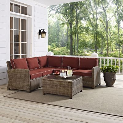 Picture of BRADENTON 4-PIECE OUTDOOR WICKER SEATING SET W/SANGRIA CUSHIONS